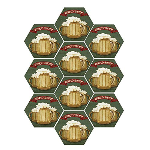 YOLIYANA Man Cave Decor Durable Hexagon Ceramic Tile Stickers,Retro Style Poster for Cold Beer Foamy Chilled Mugs Lager Ale Alcohol Drink for Living Room Kitchen,9