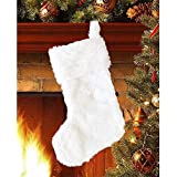 DegGod 20 inch Plush Christmas Stocking, Cozy Snowy White Faux Fur Xmas Stockings Gift Holder for Christmas Mantel Decoration Holiday Party Hanging Ornaments