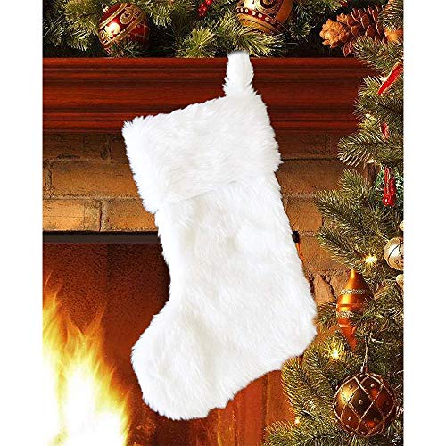 (DegGod 20 inch Plush Christmas Stocking, Cozy Snowy White Faux Fur Xmas Stockings Gift Holder for Christmas Mantel Decoration Holiday Party Hanging Ornaments)