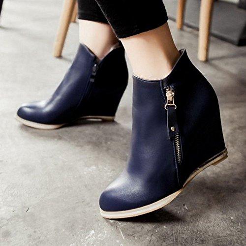 COOLCEPT Damen Einfach Keilabsatz Stiefel Zipper Blue