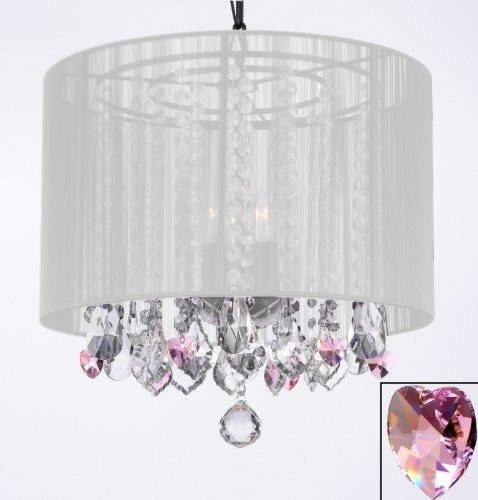 Crystal Chandelier Chandeliers With Large White Shade and Pink Crystal Hearts! H15