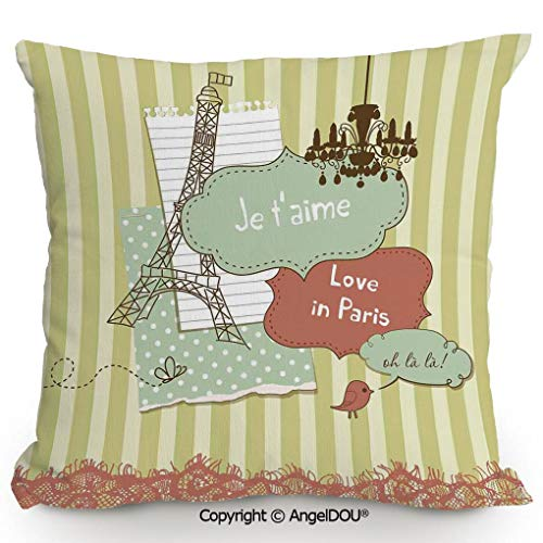 AngelDOU Back Cushion Nice Throw Pillow,Illustration of Famous Cultural French Icons with Eiffel Tower Love Paris,Sofa Bed Head Waist Pillow Back car Waist pad.15.7x15.7 inches ()