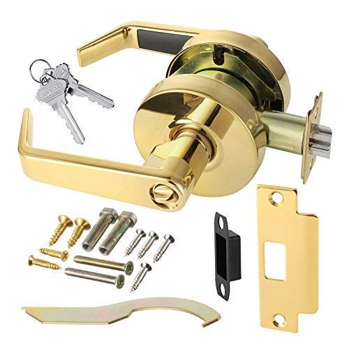 Commercial Cylindrical Lever Heavy Duty Non-Handed Grade 2 Door Handle (Entrance/Keylock, Polished Brass) by Lawrence Hardware LH5304L