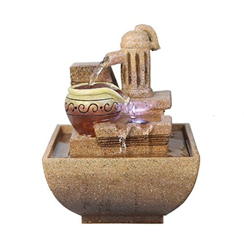 Moylor Imitation Rock Design Resin Mini Tabletop Indoor Fountain with Decorative White Pebbles and Water Pump 6.9