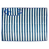 Extra Large Stripe Beach Picnic Mat, 60x78'' Portable with Carrying Handle, Water Proof & Sand Proof, Perfect for Beach, Park, Hiking, Sunbath, Camping, Outdoor Concert, Traval-White/Blue