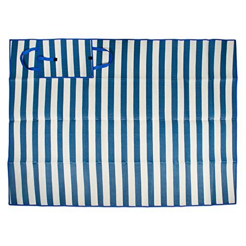Extra Large Stripe Beach Picnic Mat, 60x78'' Portable with Carrying Handle, Water Proof & Sand Proof, Perfect for Beach, Park, Hiking, Sunbath, Camping, Outdoor Concert, Traval-White/Blue by J&M Home Fashions