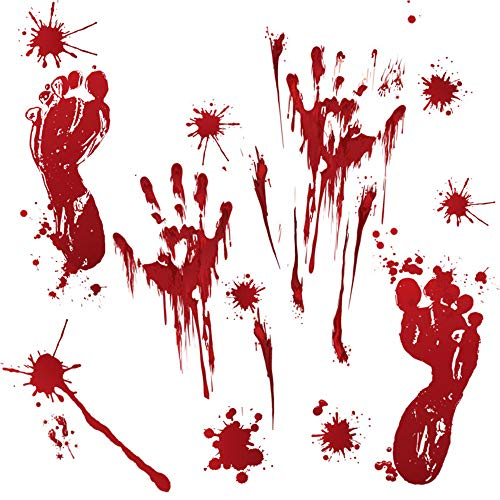 (Idealpark Halloween Waterproof Bloody Hand Prints Footprint Window Clings, Wall Art Stickers with Blood Splats Horror Bloodstains Decorative Decals Vampire Zombie for Halloween Party)