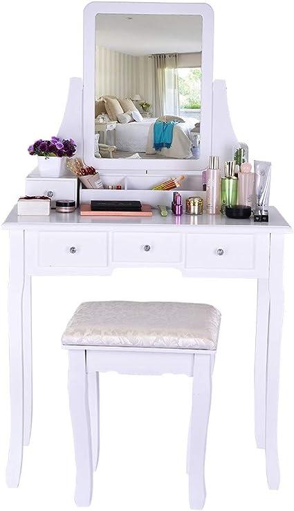 Iusun Vanity - Juego de mesa de maquillaje con espejo y taburete acolchado, 5 cajones, organizadores extraíbles, fácil de montar, se envía desde EE. UU.: Amazon.es: Hogar