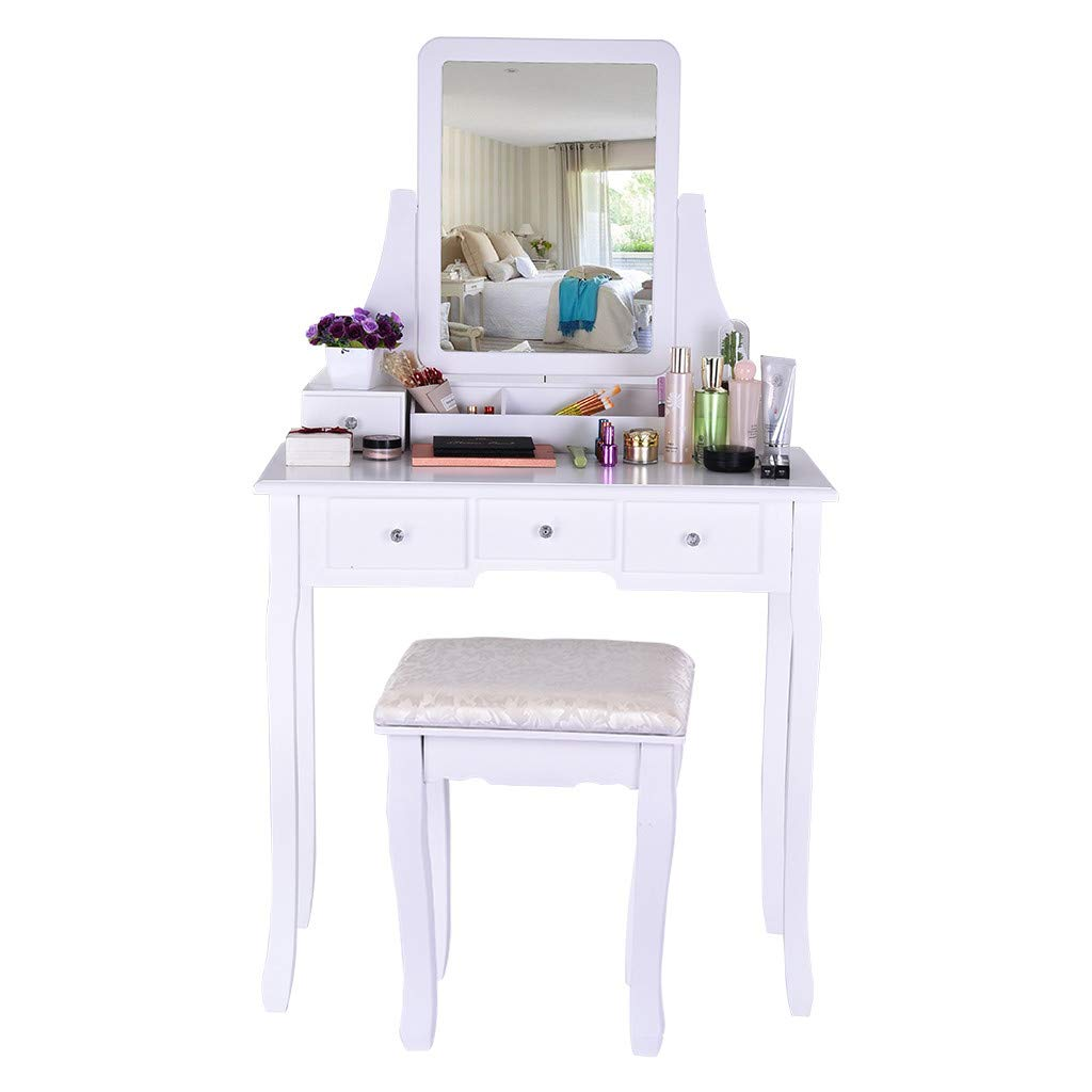 Peigen Women Girls Vanity Table Set, Vanity Set With Mirror & Cushioned Stool Dressing Table Vanity Makeup Table 5 Drawers 2 Dividers Movable Organizers (White)