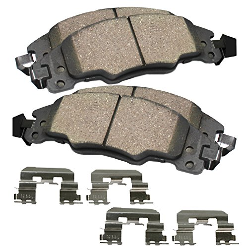 Detroit Axle - FRONT Pair Ceramic Brake Pads w/Hardware Kit - Male Oval Sensor Connector