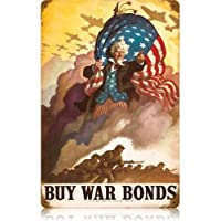 Past Time Signs V340 Uncle Sames Buy War Bonds Allied Military Vintage Metal Sign