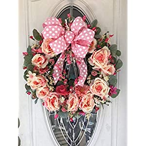 Pink Rose 18 inch Grapevine Wreath for Front Door, Spring and Summer Grapevine Wreath, Indoor Outdoor Wreath, Front Door or Wall Hanging Rose Wreath, FREE Shipping 40
