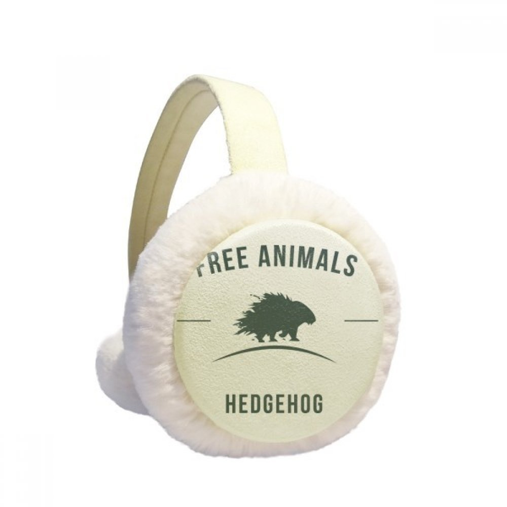 Cartoon Hedgehog Animal Blue Silhouette Winter Earmuffs Ear Warmers Faux Fur Foldable Plush Outdoor Gift