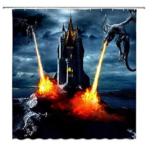 Afagahahs Fantasy Castle Double Dragon Spitting Fire Decor Home Shower Curtain Sea Coast Scenic Dark Sky Polyester Fabric Bathroom Curtains Hooks