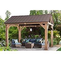 Sunjoy L-GZ1171PWD-B Hudson Cedar Wood Pavilion with Hardtop, Gazebo, 14'x12' Natural/Brown