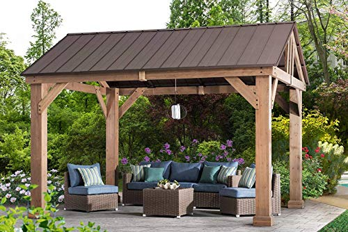 - Sunjoy L-GZ1171PWD-B Hudson Cedar Wood Pavilion with Hardtop, Gazebo, 14'x12', Natural/Brown