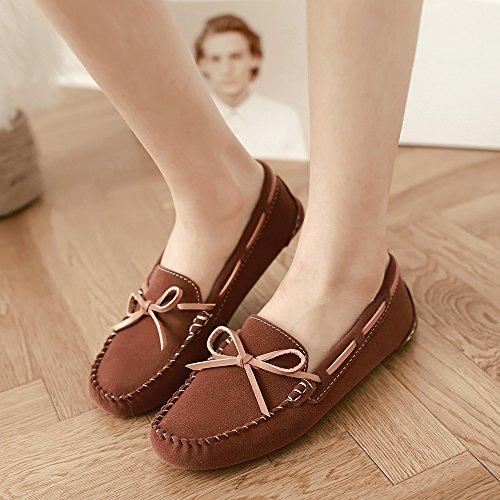 Meeshine Damen Leder Loafer Schuhe Slip On Bowknot Mokassins Driving Casual Wohnungen Braun