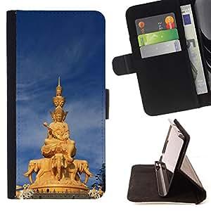 BullDog Case - FOR/Samsung Galaxy Core Prime / - / Architecture Thai Buddha Statue /- Monedero de cuero de la PU Llevar cubierta de la caja con el ID Credit Card Slots Flip funda de cuer