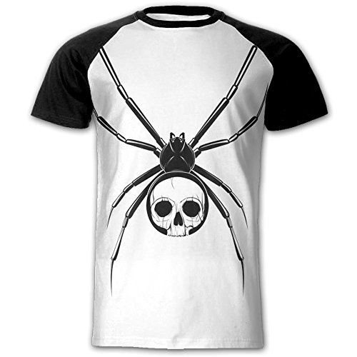 Liguofeng Skull Body - Evil Spider Men's Short Sleeve T-Shirt Round Neck Slim Fit Sport Tops Couples Printed Tee