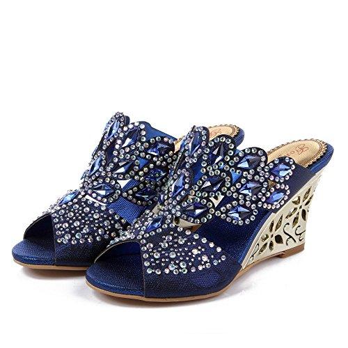 Unicrystal - Sandalias con cuña para mujer, diseño con diamantes Azul - azul