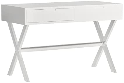 MIX High Gloss Lacquer Wood Stainless Steel Legs White Rectangular Lift Top Desk  Vanity Table