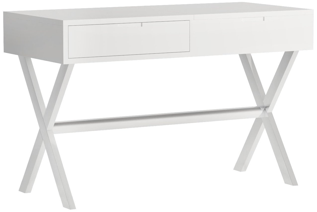 MIX High Gloss Lacquer Wood Stainless Steel Legs White Rectangular Lift-Top Desk Vanity Table with Hidden Storage and Mirror