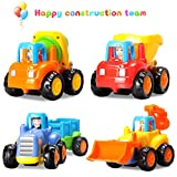 Baby Toys Push and Go Friction Powered Car Toys Early Educational Toddler oys Sets of 4 PCS -Tractor,Bulldozer,Cement Mixer&Dumper Construction Engineering Vehicles Best Gifts for Boys and Girls