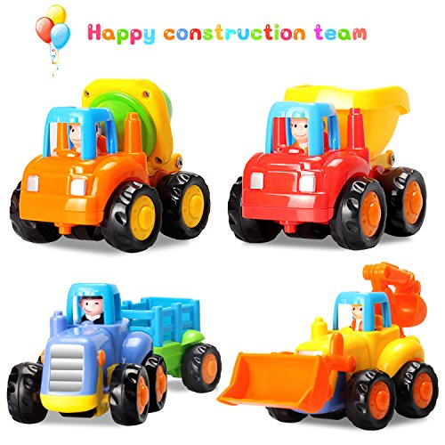 Baby Toys Push and Go Friction Powered Car Toys Early Educational Toddler oys Sets of 4 PCS -Tractor,Bulldozer,Cement Mixer&Dumper Construction Engineering Vehicles Best Gifts for Boys and Girls by HOMOFY
