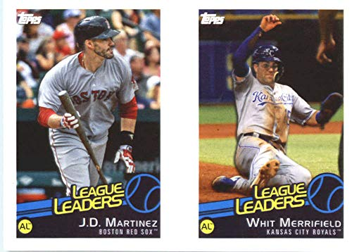 2019 Topps MLB Stickers Baseball #124/126 Whit Merrifield/J.D. Martinez/Carlos Santana Kansas City Royals/Boston Red Sox/Cleveland Indians Trading Card Sized Album Sticker with Collectible Card Back