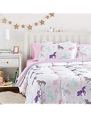 AmazonBasics Easy-Wash Microfiber Kid's Bed-in-a-Bag Bedding Set - Full / Queen, Purple Unicorns