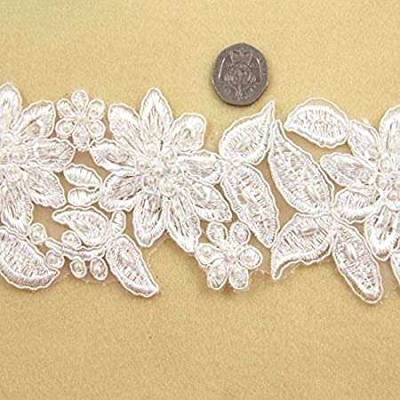 1 METRE BEADED BRIDAL LACE WHITE EMBROIDERY TRIMMING MOTIF DRESSMAKING