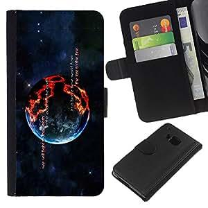 Planetar® Modelo colorido cuero carpeta tirón caso cubierta piel Holster Funda protección Para HTC One M9 ( Burning Planet )