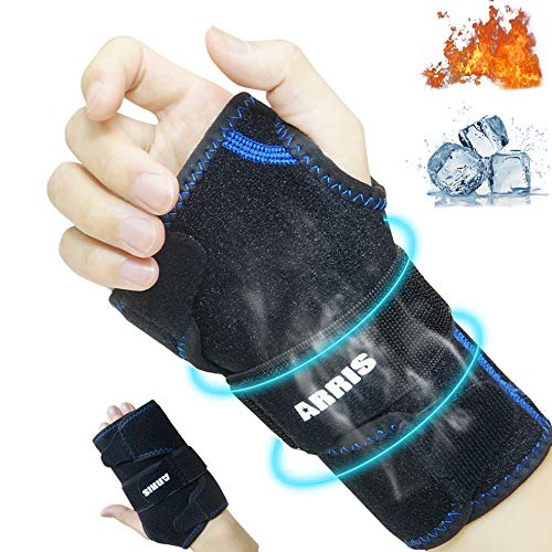 Wrist Ice Pack, Hot Cold Therapy Hand Support Brace, Reusable Ice Gel Pack for Pain Relief for Carpal Tunnel, Rheumatoid Arthritis, Tendonitis, Sports Injuries, Swelling