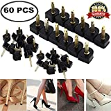 60PCS High Heel Replacement Tips High Heel Shoe Repair Tips Stiletto Repair Heel Caps Kit Pin Taps Dowel Lifts Replacement Black 5 Sizes by Meiso