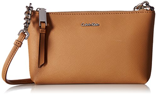 Calvin Klein Hayden Saffiano Leather Crossbody, Buff