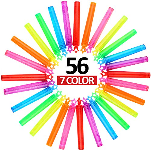 Bubble Wand, 56 Pcs Mini Star Bubble Wand Set(7 Colour), Non-toxic Smelless Bubble Toy For Kids Child Birthday Party Favor Wedding Summer Outdoor Activity Bathroom Bath Toys, 4 inch, by CHIMAGER]()