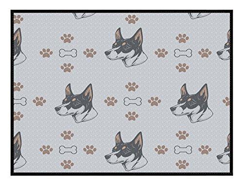Fox Terrier Bone - Miniature Fox Terrier Dog Bones Paws Kitchen Door Pet Welcome Floor Mat Megamagci