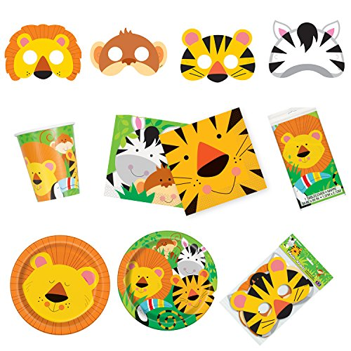 - Unique Animal Jungle Party Bundle | Luncheon & Beverage Napkins, Dinner & Dessert Plates, Table Cover, Cups, Masks | Great for Zoo/Safari/Forest Birthday Themed Parties
