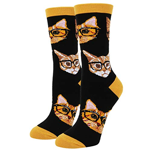 Women's Novelty Crazy Smarty Cats Crew Socks Cute Kitty with Glasses Cotton Socks