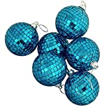"6 Regal Peacock Blue Mirrored Glass Disco Ball Christmas Ornaments 1.5"" (40mm)"