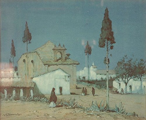 Cutler Miles Moonlight Near Utrera, Spain by Albert Moulton Foweraker Hand Painted Oil on Canvas Reproduction Wall Art. 30x24 by Cutler Miles