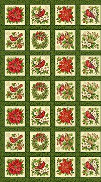 tisthe seasonsquares panel 24 x 44 christmas cotton fabric by