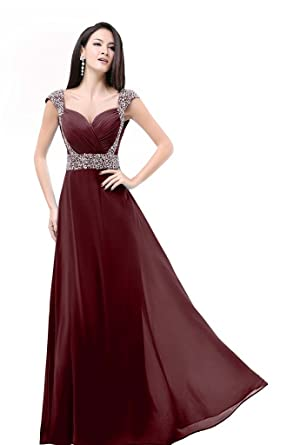 Charmanegl Womens Long Chiffon Bridesmaid Prom Dress Evening Gowns Size 10 Burgundy