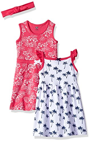 Hudson Baby Baby Girls' 3 Piece Dress and Headband Set, Tropical, 3-6 Months (6M)