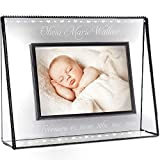 J Devlin Pic 319-46HEP508 New Baby Hearts Clear Glass Photo Frame Engraved Table Top 4x6 Horizontal Landscape Picture Personalized Keepsake Gift