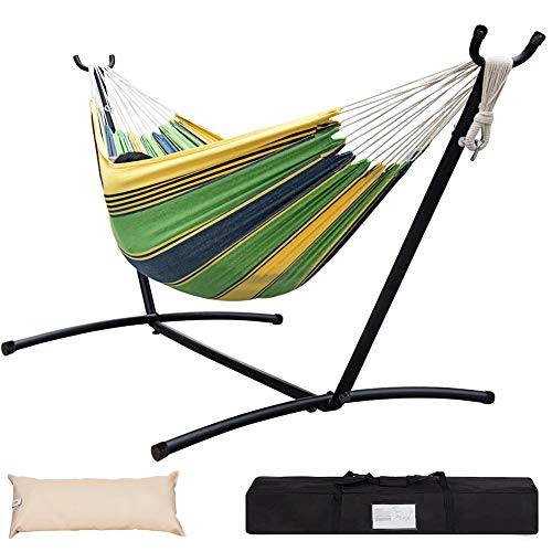 Lazy Daze Hammocks Double Hammock with Space Saving Steel Stand Includes Portable Carrying Case and Head Pillow, 450 Pounds Capacity (Meadow - 2 Canvas Meadow