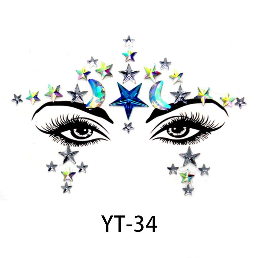 Futureshine Face Stickers Gems Glitter Festival Body Jewels Stickers Crystals Bindi Rainbow Tears Rhinestone Temporary Tattoo Face Rocks