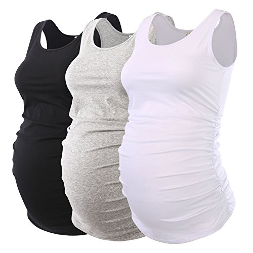 Jinson Pack of 3pcs Mama Womens Layering Maternity Tank Top Pregnancy Tee Scoop Neck Sleeveless Ruched Vest - Maternity Pack