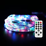 USB Led Starry String Lights with 8 Modes Remote Control,17Ft 100 Leds Flexible Silver Wire Firefly Christmas Lights,Perfect for Indoor Outdoor Garden Bedroom Partio Wedding Party Decor--Uzexon