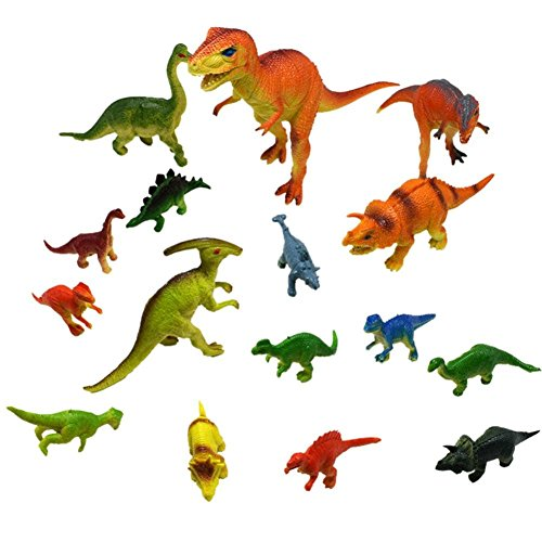 A Set Of 17Pcs,Pausseo Kids Dinosaurs Toy Dinosaur Cartoon Model Toys New Model Playset Realistic Looking Dinosaurs Toys Funny Plastic Assorted Dinosaur Figures With Dinosaur Book